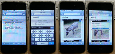 demo of a search on an iphone with flickrtrackr