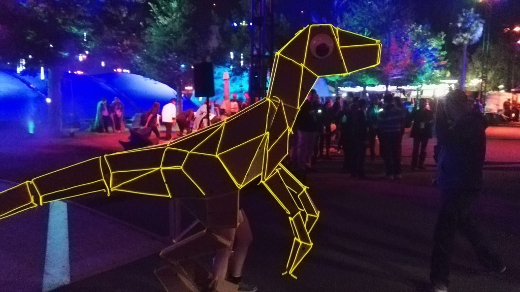 Illuminated dinosaur at the after party