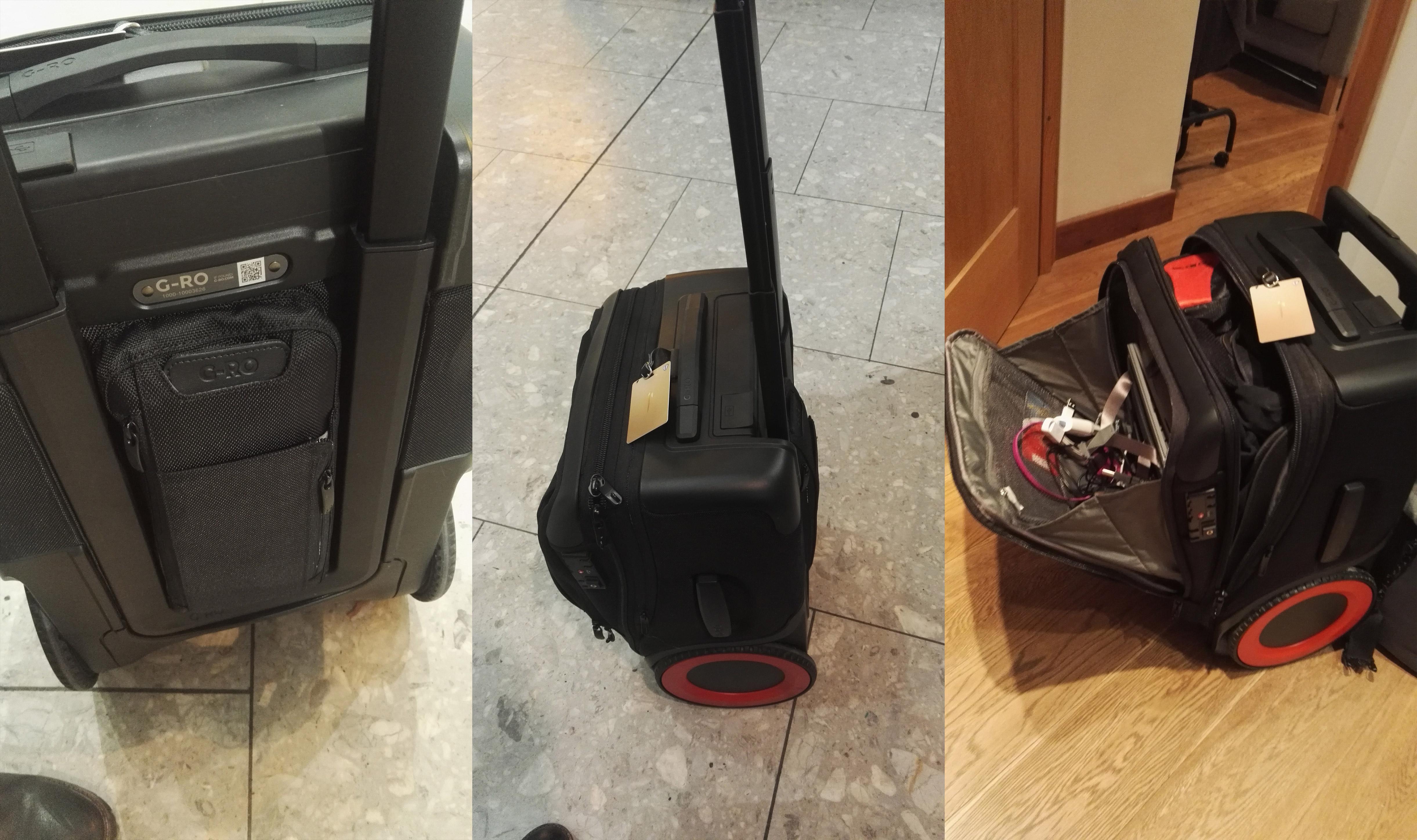 Bag between handle bars, tilted standing and open G-Ro